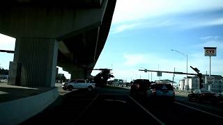 Driving video into Panama City Beach Fl over hathaway bridge then turning onto Thomas dr