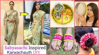 Sabyasachi Inspired DIY Sari, Puja Thali, Gajra & Sandals for Karwa Chauth   #Anaysa #DIYQueen