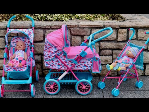 Baby Born Dolls Pushchair Stroller and Pram Unboxing Set Up & 3 Baby Born Dolls