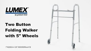 Lumex Two Button Folding Steel Walker with 5 inch Wheels Youtube Video Link