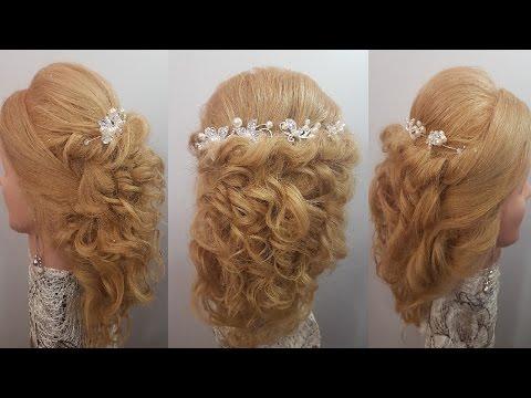 Прически локоны прическа на средние волосы  на полураспущенные жгуты кудряшки завитки романтические