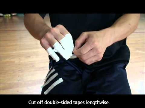 Handball How to apply double-sided tapes around fingers. Example B