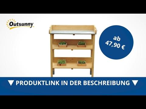 Outsunny Pflanztisch Gärtnertisch Blumentisch Holz 76x37x89cm - direkt kaufen!
