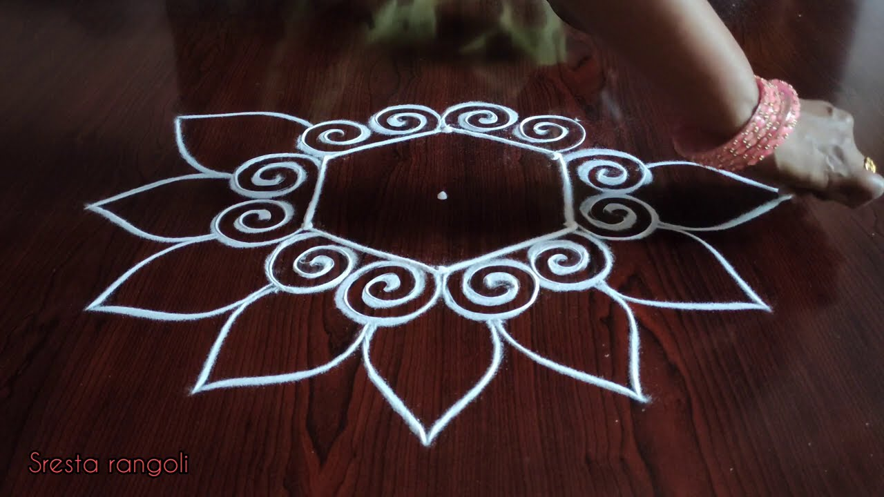 creative easy dotted kolam with 3 dots by sresta