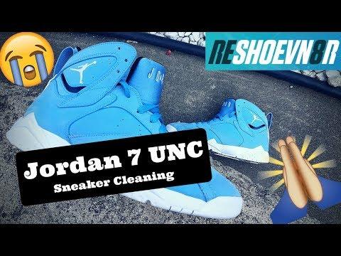 81b768914309 Jordan 7 UNC  Pantone University Blue Deep Cleaning. Testing Reshoenv8r