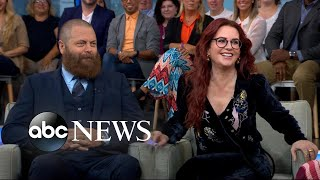 Nick Offerman and Megan Mullally talk 'The Greatest Love Story Ever Told'