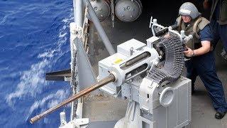 US Sailors Training With Mk 38 Machine Gun [ M242 Bushmaster ]   A Live Fire Exercise