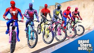 TEAM SPIDER-MAN Super Bicycles Mega Rampa Challenge With Spiderman,Spiderman 2099, Amazing Spiderman