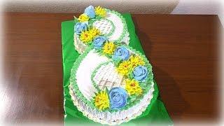 Торт на 8 Марта Кремовый торт цифра восемь Cake on March 8 Cream cake number eight
