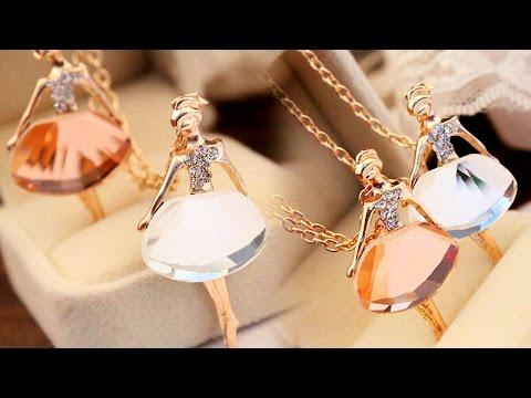 """Элегантная подвеска-кулон с камнем """"Балерина"""" на цепочке. Бижутерия с Aliexpress"""