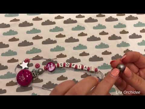 DIY Kleine Diva Schnullerkette selber gestalten mit Name Rassel