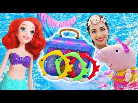 Куклы Русалки затеяли игры в воде. Свинка Пеппа испачкала платье! Сундук Русалки дарит подарки!