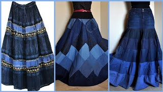 Simple And Elegant Full Length Denim Maxi Skirts Design And Ideas For Girls And Women.