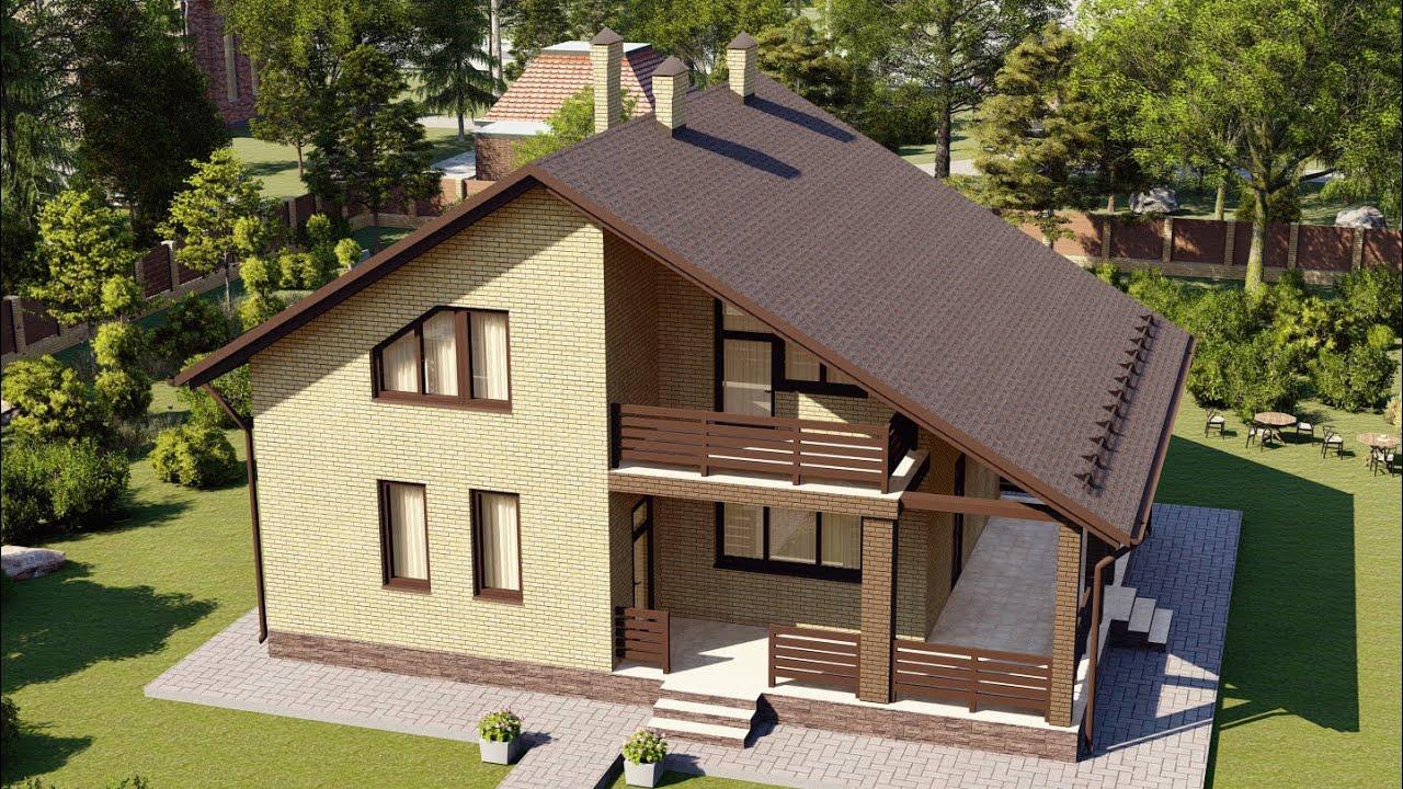 Проект дома с мансардой и большей крытой террасой
