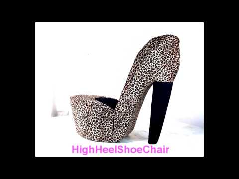 Leopard & Black High Heel Shoe Chair