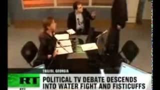 Georgian politicians fight live on TV