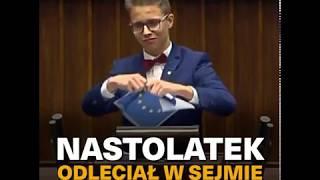 """Nastolatek odleciał w Sejmie: """"lewicowa hołota z Brukseli"""""""