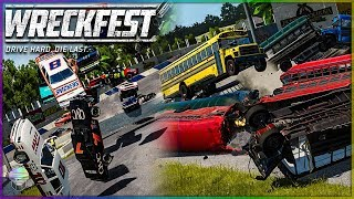 THIS IS ABSOLUTE MADNESS! | Wreckfest | NASCAR Legends/School Busses - Stockton Figure 8