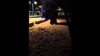 Elliott doing a backflip off the swing