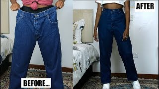 DIY Mom Jeans From Oversized Mens Jeans
