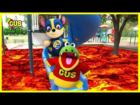 The Floor is Lava Challenge Pretend Play with Paw Patrol and Gus the Gummy Gator!