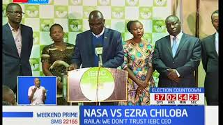 Raila Odinga maintains that IEBC's CEO Ezra Chiloba should not be part of the October poll