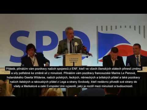 Tomio Okamura: 5. celostátní konference SPD - Gerolf Annemans