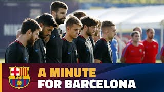 FC Barcelona pay their respects to the victims of Thursday