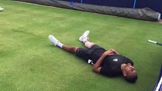 Nick Kygrios RETIRES INJURED Wimbledon 2017 (slip during training)