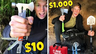 $10 VS $1000 SURVIVAL KIT CHALLENGE! *BUILD SHELTER TO SURVIVE*