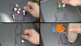Siren Head Pancake Art - Many faces, Traffic light, Toilet, Power saw
