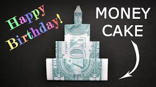 My MONEY BIRTHDAY CAKE WITH A CANDLE | Dollar Origami | Tutorial DIY By NProkuda