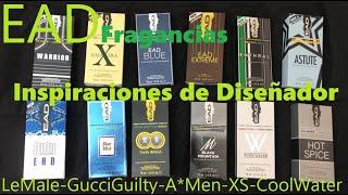 EAD Inspiraciones De Diseñador, A*Men, Gucci Guilty, XS, LeMale, Cool Water, Bleu, Montblanc Legend