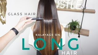 Long Hair Balayage Technique Tutorial Video