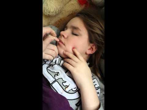 Heavy sleeping sister!