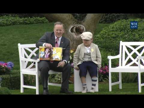 Sean Spicer Reads to Kids at White House Easter Egg Roll Reading Nook