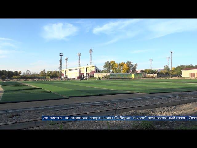 В школе «Сибиряк» заканчивают установку искусственного газона