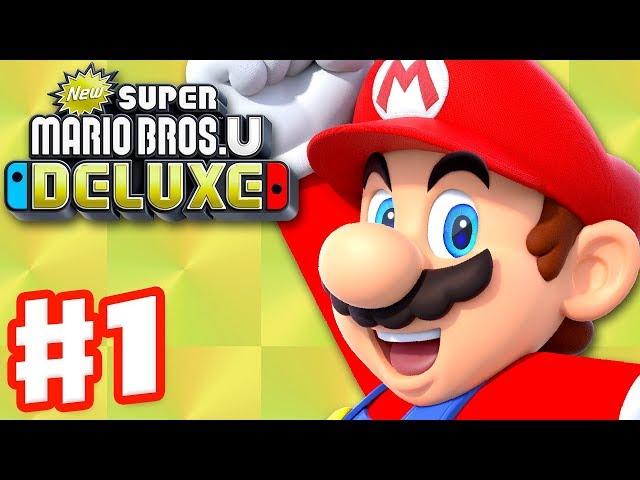 New Super Mario Bros U Deluxe - Gameplay Walkthrough Part 1 - Acorn Plains 100%! (Nintendo Switch)