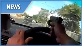 Officer shoots through his own windscreen in Las Vegas pursuit