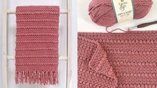Crochet Boho Puff Stripes Baby Blanket