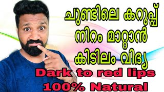 How to get red lips naturally | DIY home made remedies for red lips | ചുണ്ടിലെ കറുപ്പ് നിറം മാറാൻ