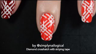 Diamond crosshatch with striping tape - Red, orange and white thumbnail