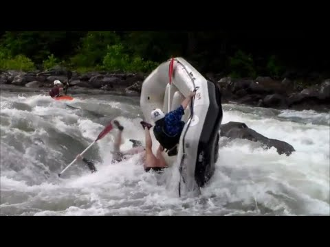 Eight glorious minutes of people getting thrown out of rafts in white water rapids, complete with commentary.