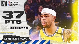 D'Angelo Russell 37 Pts 9 Threes Full Highlights | Pacers vs Warriors | January 24, 2020