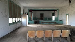 Abandoned School With Guillotine And Casket Left Behind