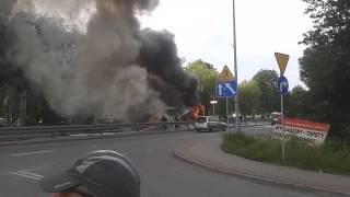 preview picture of video 'Pożar autobusu Wodzisław Śląski 2014-06-10'