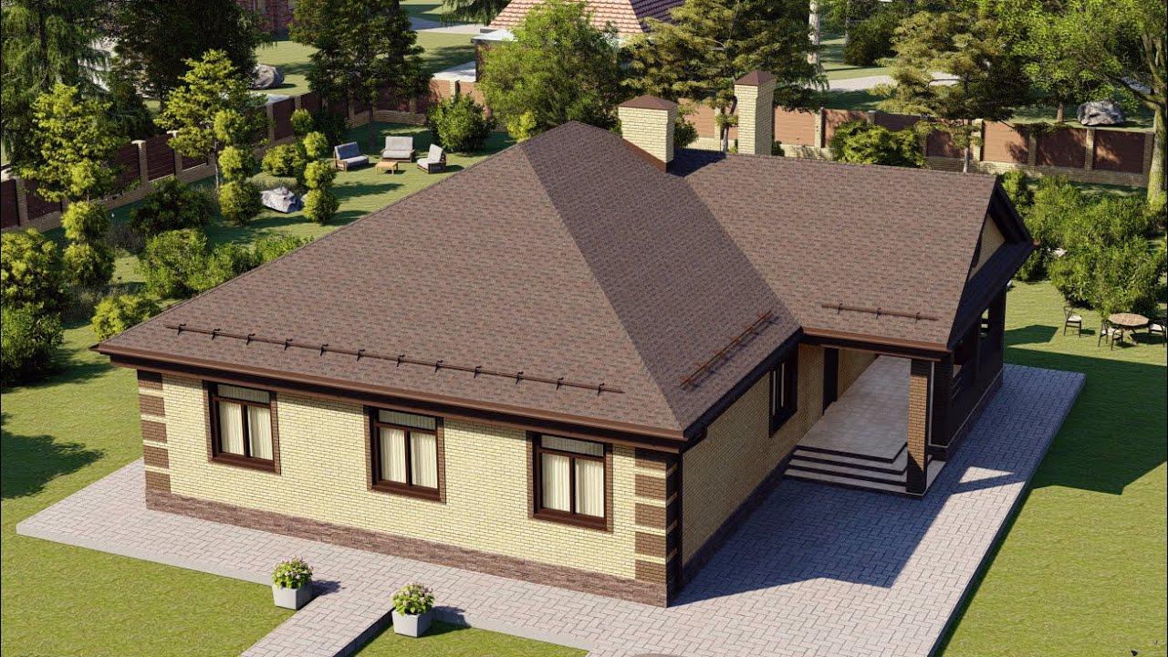 Одноэтажный дом из газобетона общей площадью 145м2