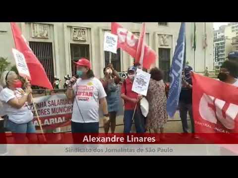 Alexandre Linares em fala durante Ato do Dia Nacional de Luta contra PEC 32
