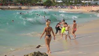 Maho Beach,  St. Maarten. Big waves and Planes. Dec. 10, 2014. 4K