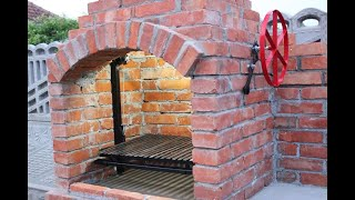 Brick grill with chimney
